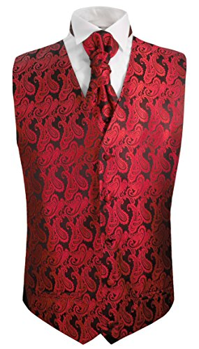 Paul Malone Festliches Herren Hochzeit Westen Set 5tlg rot schwarz Paisley Hochzeitsweste Gr. 58