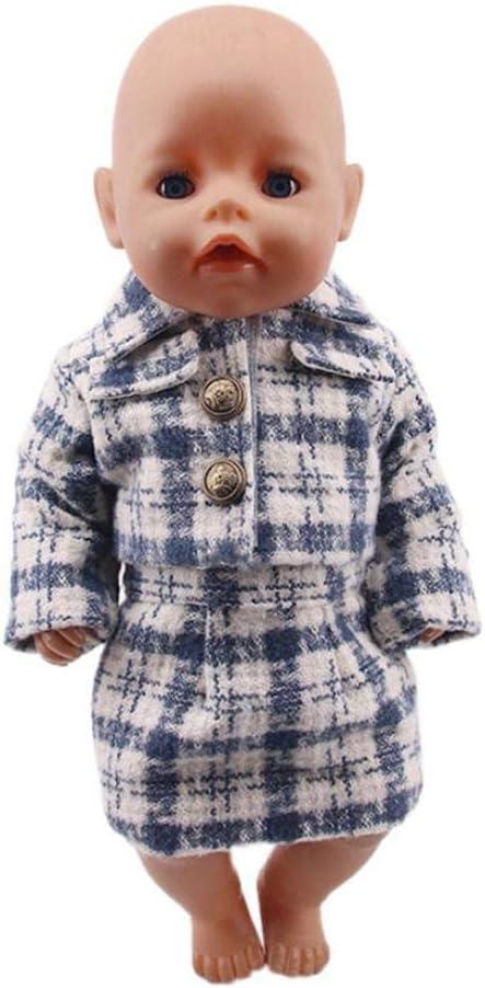 DUORUI Vestiti Bambola Vestito Inverno Vestito Giacca Gonna per Bambola Americana 45,7 cm Motivo a Scacchi