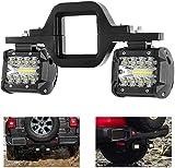 Phare de Travail LED, Phare a LED de 4 Pouces 2 x 60 W avec Supports de Montage D'attelage de Remorquage de 2 Pouces Universels pour Moto Bateau Remorque de Camion SUV Pickup