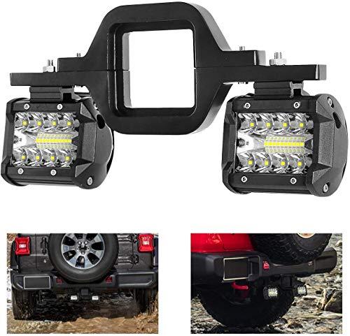 Focos de Trabajo LED, Faro LED de 4 Pulgadas 2 X 60W con Soportes de Montaje de Enganche de Remolque de 2 Pulgadas Universal para Motocicleta Barco CamióN Remolque SUV Recogida
