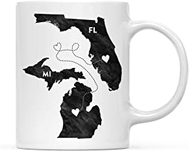 Andaz Press 11oz. Coffee Mug Long Distance Gift, Michigan and Florida, Black and White Modern, 1-Pack, Moving Away Graduation University College Gifts for Him Her Relationships