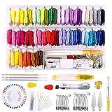 Miahart 158 piezas hilo de bordar 57 hilos de colores y kit de herramientas de punto de cruz para hacer pulseras de la amistad con caja organizadora