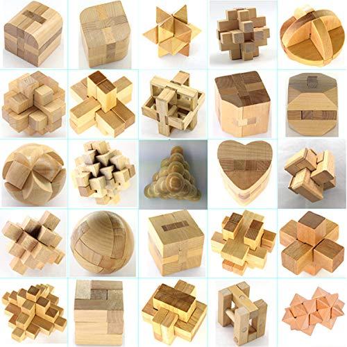 25 Piezas Cubo Rompecabezas 3D de Madera del Enigma Educativo Juego Puzle   Clásica de Cerradura de Brain Teaser Puzzle IQ Juguetes para Niños y Adultos   Idea de Regalo y Decoración