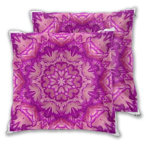 Lesif Juego de 2 fundas de cojín, color magenta y rosa, diseño de flores victorianas y cuadradas, funda de cojín suave, funda para sofá, cama, oficina, 45,7 x 45,7 cm