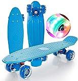 Skateboard 22 Pouces Skate Complet Skate Mini Débutant Cruiser Plastic Board for Adolescents Garçon Enfant Girl Girl Adulte, Lumière Allumez des Roues avec des roulements ABEC-7 (Color : Blue)