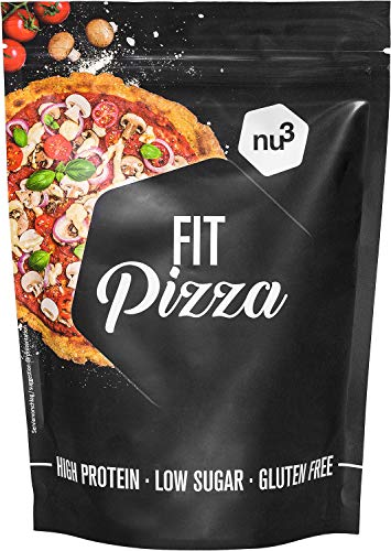 nu3 Fit Pizza baja en carbohidratos - 270 g de harina para pizza proteica sin levadura - 100% pizza vegana y libre de gluten - 15g de proteína por porción - Ideal durante dietas low carb