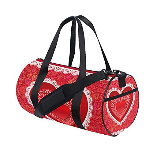 Bolsa de deporte para gimnasio, para el día de San Valentín, con diseño de corazón, con compartimento para zapatos y bolsillo húmedo para mujeres o hombres