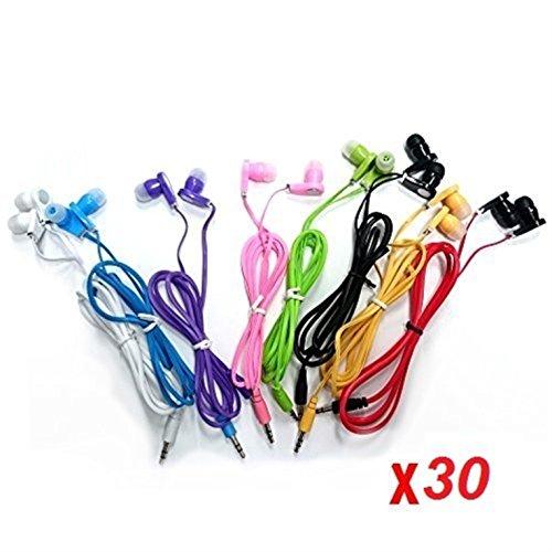 JustJamz 30 Pack 3.5mm Stereo in-Ear Earbud Headphones - Earphones (Assorted Colors)