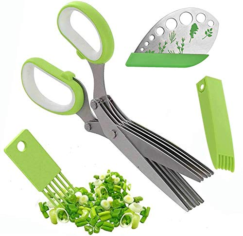NRRN Herb stripper, easy zipstrip scissors Stripping Tool cutter with Stainless Steel 5 Blades kitchen shears 2 in 1 Set Safety Cover and Cleaning Comb for greens and herb.