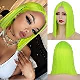 """14"""" Neon Green Bob Wig for Women, Shoulder Length Blunt Cut Short Lime Green Wigs with Lace, Straight Synthetic Hair for Halloween Cosplay Party Daily"""