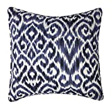 Blue Throw Pillows, Throw Pillow Covers, Decorative Pillows Throw Pillows for Couch Indigo Ikat Fabric 18 Inch Square Pillow Cover