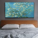 HUANGXLL Famoso Pintor Van Gogh Blue Blossoming Almond Tree Pintura Grande sobre Lienzo Póster Impresión Arte de Pared para Decoraciones de Sala de estar-60x100cm-Sin Marco