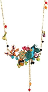European and American Jewelry Diamond-Plated Enamel Glaze Flower Necklace Choker Tassel Pendant Clavicle Chain Necklace Female Creative Design