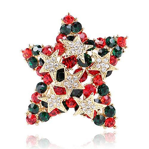 U/N Bunte Strass-Sternbroschen für Frauen Glänzende Weihnachtsnadeln Mantelkleid Corsage-Accessoires Schmuck
