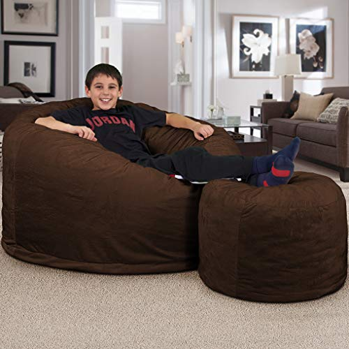 ULTIMATE SACK Bean Bag Chair w/Foot Stool in Multiple Sizes and Colors: Giant Foam-Filled Furniture - Machine Washable Covers, Double Stitched Seams, Durable Inner Liner. (Brown Suede, 4000)
