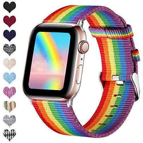 Ouwegaga Kompatibel mit Apple Watch Armband 38mm 40mm 42mm 44mm, Ersatzgewebe Band Stoff Armband Kompatibel mit iWatch Serie 4 3 2 1, Regenbogen 38mm/40mm