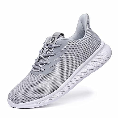 GURGER Zapatillas de Running Hombre Mujer Transpirable Deportivas Zapatos para Correr Deportes Fitness Sneakers Gris 43