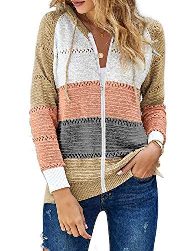 Fiyote - Sudadera con capucha y cremallera para mujer, de manga larga, con capucha, color V-Neck Hooded Sudadera, para otoño, peso ligero, top de punto deportivo.