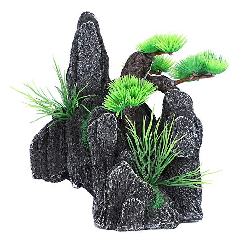 Soapow Aquarium Mountain View Stone Ornament Fish Tank Decoration with Small Plants for Fish Tank Decoration Landscaping