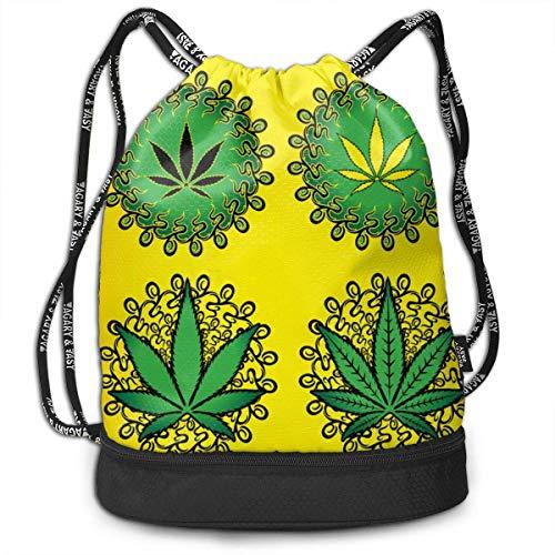 Saco Multiusos con cordón Mochila empaquetada Impresa en 3D, Mochila con cordón Amarillo de Hoja de Hierba de Marihuana Verde/Bolsa de Viaje,