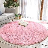 junovo Round Fluffy Soft Area Rugs for Kids Girls Room Princess Castle Plush Shaggy Carpet Cute Circle Nursery Rug for Kids Baby Girls Bedroom Living Room Home Decor Circular Carpet, 4ft Pink