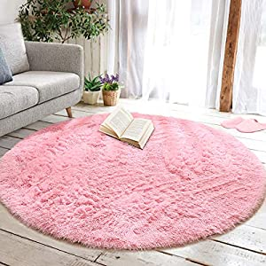 junovo Round Fluffy Soft Area Rugs for Kids Girls Room Princess Castle Plush Shaggy Carpet Cute Circle Nursery Rug for Kids Teen's Bedroom Living Room Home Decor Large Circular Carpet, 6ft Pink
