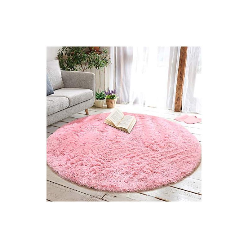 silk flower arrangements junovo round fluffy soft area rugs for kids girls room princess castle plush shaggy carpet cute circle nursery rug for kids teen's bedroom living room home decor large circular carpet, 6ft pink
