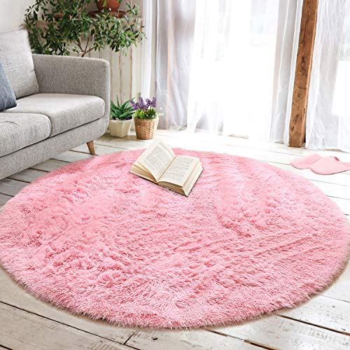 junovo Round Fluffy Soft Area Rugs for Kids Girls Room Princess Castle...