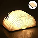 Yuanj Libro Lámpara LED, Luces Plegables de Madera 360°, USB Recargable, Portátil, Luz Lectura/Decorativa, Luz de Nocturna LED magnética, Lámpara de Mesita de Noche (L)