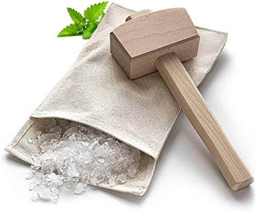 Lewis Bag and Manueller Eisbrecherhammer,Wiederverwendbarer Crushed Ice Bag aus Baumwolle mit Holzzubehör Bar Kitchen Accessory Kit für Crushes Ice Dried Ice.
