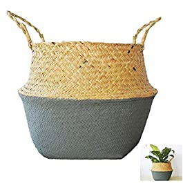 Panier Osier Rangement,Cache Pot Rotin,Tissé en Coton Corbeille à Linge avec Poignée,Tissé à la main Pliable pour…