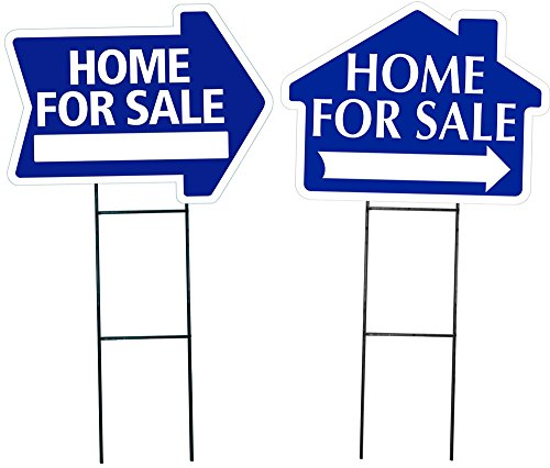 Home for Sale Sign Combo Kit - Home for Sale House Shaped Sign & Home for Sale Arrow Shaped Sign Kit - (Includes 1 of Each House and Arrow Shaped Sign and 2 Stakes) (Blue)