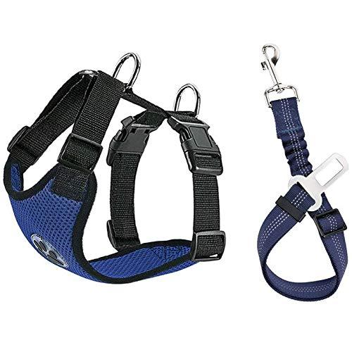 Lukovee Hunde-Sicherheitsweste mit Sicherheitsgurt, Hunde-Autogeschirr, Sicherheitsgurt, verstellbar, Haustiergeschirr, doppeltes atmungsaktives Netzgewebe mit Kfz-Anschlussgurt für Hunde (groß, blau)