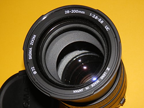 TELE - ZOOM - ASPHERICAL - OBJEKTIV AF - SIGMA 28-200 mm 1:3.8-5.6 UC LENS Ø72 - Bajonett - u.a. für analoge Spiegelreflexkamera CANON EOS 500 N
