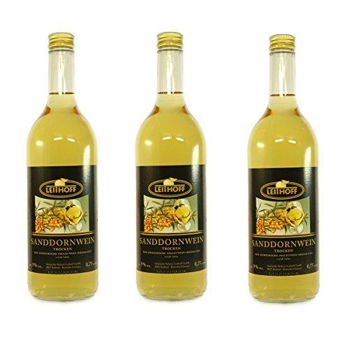 3 Flaschen Sanddornwein á 0,75 Liter 9% vol. trocken Sanddorn Wein