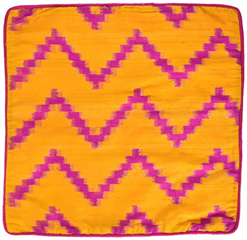 The Indian Promenade Tip Raw Seda Zig Zag Ikat cojín, Mostaza