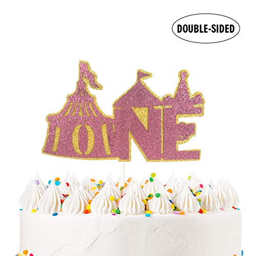 Circus Tent ONE Cake Topper for 1st Birthday Anniversary Baby Shower One Month Party Decoration Supplier - Double Side Glitter