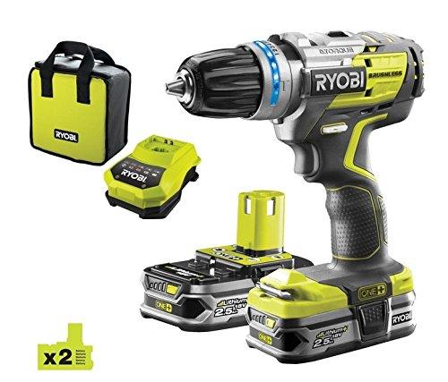 Ryobi One+ Brushless R18PDBL - Taladro percutor sin escobillas de 18V One con 2 baterías de 2,5 Ah e inlcuye cargador y maletín