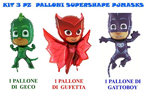 PJ MASKS SUPER PIGIAMINI GECO GUFETTA GATTOBOY ADDOBBI FESTA - Cdc- (1 PALLONE SUPERSHAPE GECO, 1 PALLONE SUPERSHAPE GUFETTA 1 PALLONE SUPERSHAPE GATTOBOY)