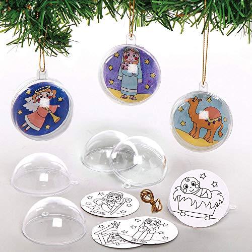 Baker Ross AX555 Weihnachtskrippe Kugeln zum Ausmalen Bastelset für Kinder - 8 Stück, Festliche Kreativsets und Bastelbedarf zum Basteln und Dekorieren zur Weihnachtszeit
