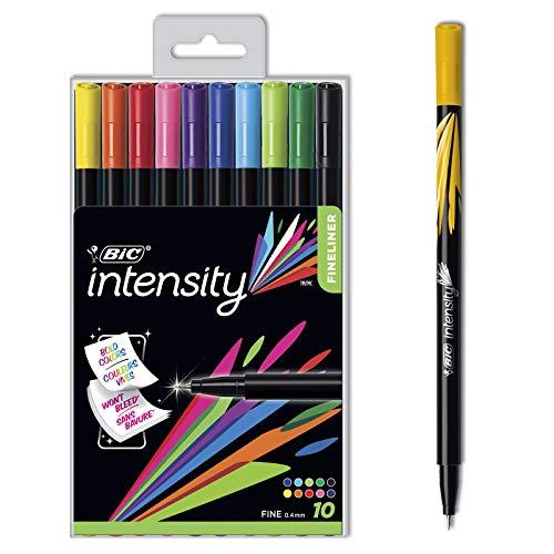 BIC Intensity Fineliner (0, 4mm) für den Schreib- und Schulbedarf – Vielfalt an feinen Faserschreibern in verschiedenen Farben – Ideal für den täglichen Gebrauch geeignet – 10er Set