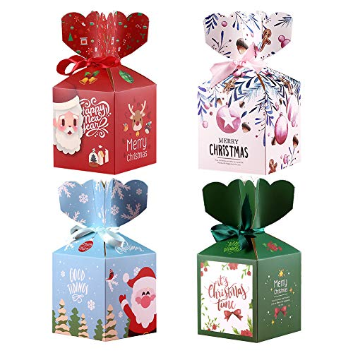 Gukasxi 24pcs Christmas G-I-F-T Boxes Small Paper Candy Box with Ribbon Bow for Xmas Goodie Paper Boxes, Holiday Party Favors, Candy Treat Cardboard Cookie Boxes (4 Styles)