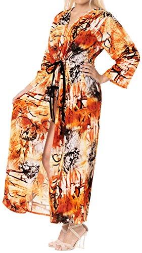 LA LEELA Seda Kimono Largo Impreso Beach Cover Up para Mujer Suelta Ropa de Playa Encubrimiento de baño Bikini Vestido para la Playa, un tamaño Naranja_A775