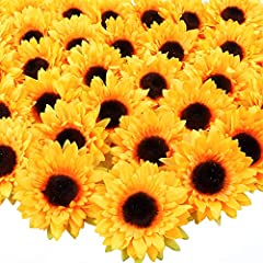 Package including 32 sunflower heads, the faux flower heads do not contain stems, the center part is brown, and the petals are orange; The flower heads have a diameter of 9cm/3.5in, and each sunflower has 6 layers of petals, making the craft flowers ...