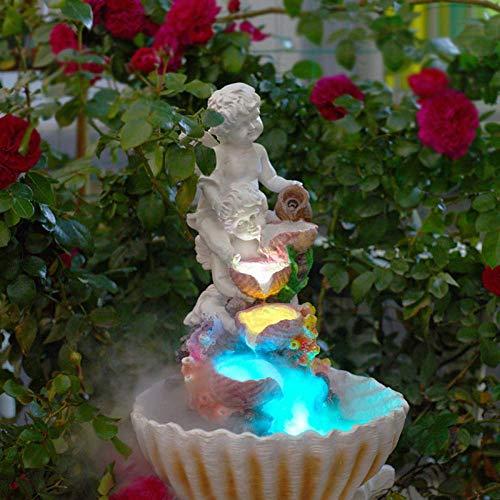 LXDDP Bomba de Fuente de Agua Interior Diseño de ángel Paisaje acuático Jardín Hogar Mesa Tranquilidad Cascada Estatua