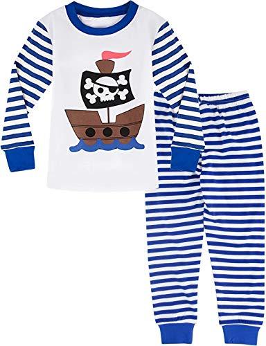 MOMBEBE COSLAND Jungen Pirat Zweiteiliger Schlafanzug (3-4 Jahre, Gestreift)