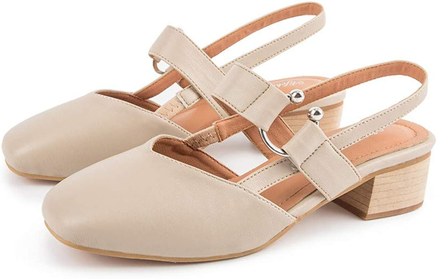 NURJOR Baotou with Sandals with a Buckle with Pointed Thick Heel shoes
