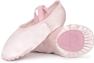 Soudittur Satin Chaussure de Ballet Classique Ballerine Demi Danse Chaussures Pilates Yoga Gymnastique Chaussons Split Pla...