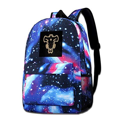 XNTWJMV Galaxy Schultertasche mit schwarzem Kleeblatt und schwarzem Bullen-Logo, modischer lässiger Sternenhimmel-Rucksack für Jungen und Mädchen