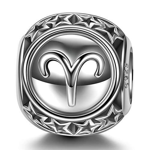 NINAQUEEN Charm para Pandora Charms Aries 12 Constelación Signo Zodiaco Regalo Mujer Originales Plata 925 Regalos de Aniversario Cumpleaños para Esposa Novia Mamá